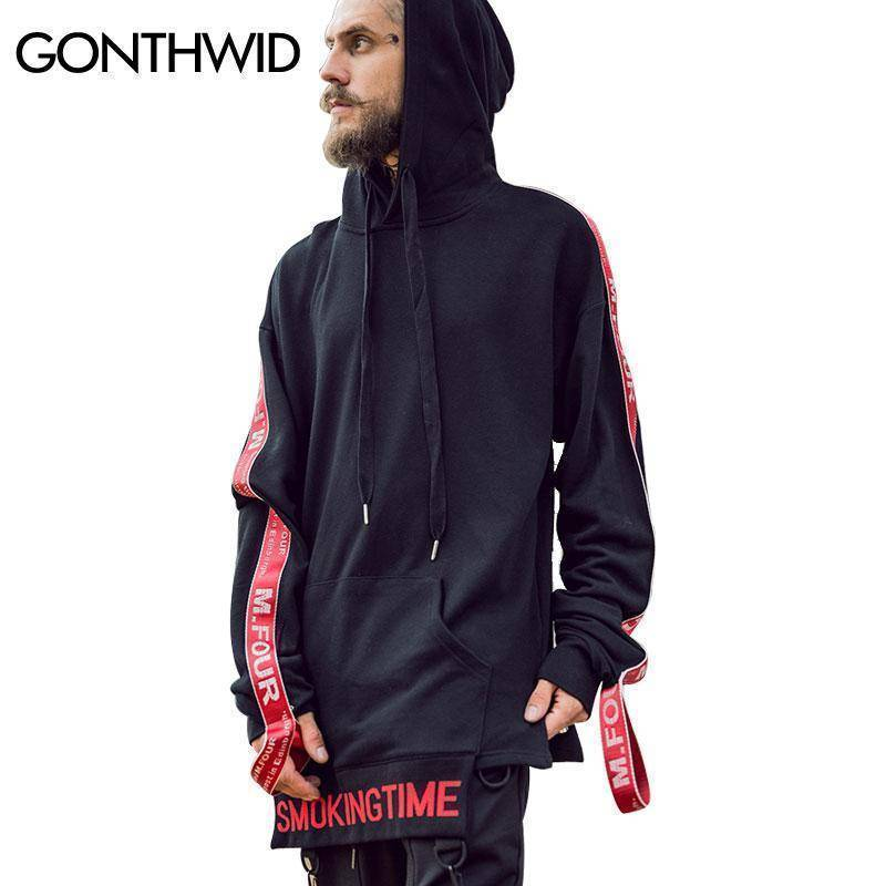 Hip Hop Swag Solid Color Side Split Long Sleeve Hoodies