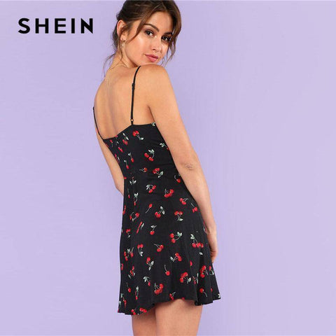Cherry Print Spaghetti Strap Sleeveless Dress