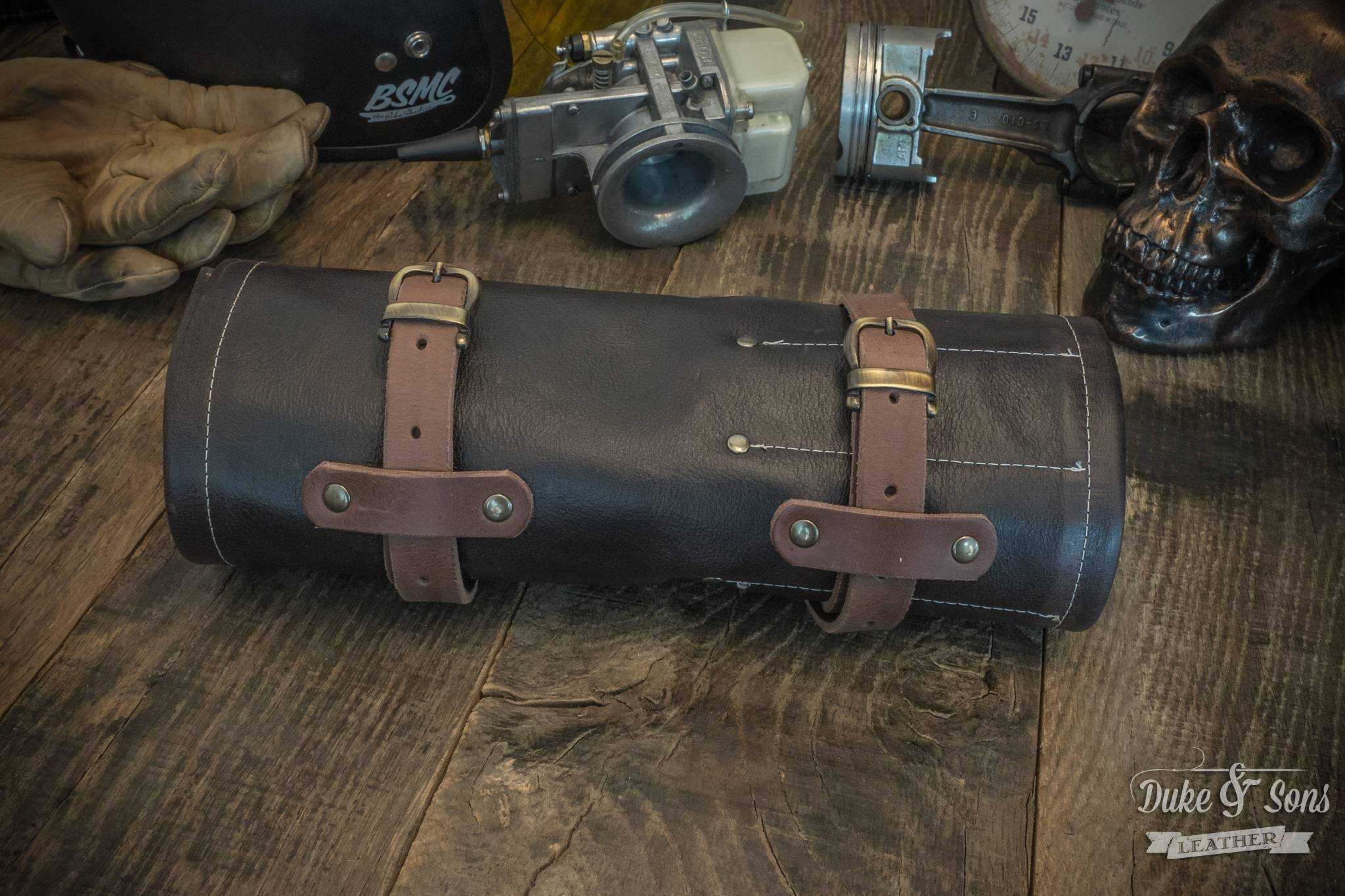 Tool Roll, brown leather, with 2 leather straps.