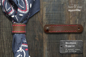 Woggle, leather bandana strap. (In several combinations)