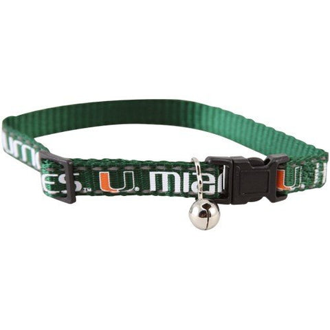 Miami Hurricanes Breakaway Cat Collar-CAT-Pets First-Pets Go Here football fanatics, green, ncaa, ncaa cat collar, nylon, sports collar Pets Go Here, petsgohere