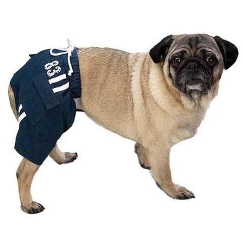 Casual Canine Sport Trunks Dog Shorts NAVY BLUE LARGE blue, casual canine, dog, dog clothes, fashionable, outdoor, swim, trendy Pets Go Here, petsgohere