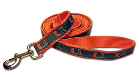 NCAA Miami Hurricanes Embroidered Dog Leash 4 ft, 6 ft, embroidered, miami hurricanes, ncaa, ncaa leash, nylon, sports, sports leash Pets Go Here, petsgohere