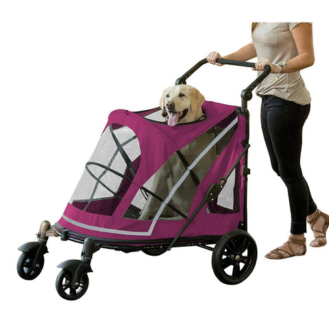 Pet Gear No-Zip Excursion Pet Stroller-DOG-Pet Gear-BOYSENBERRY-Pets Go Here blue, boysenberry, fog, nylon, pet gear, silver, stroller Pets Go Here, petsgohere