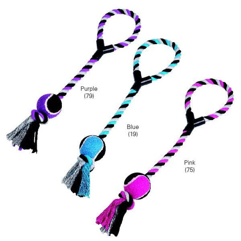 Zanies Tennis Ball Toss Rope Dog Toy-DOG-Zanies-PURPLE-Pets Go Here ball, blue, dog, dog toy, dog toy rope, pet toy, pink, rope, rubber, toy, zanies Pets Go Here, petsgohere