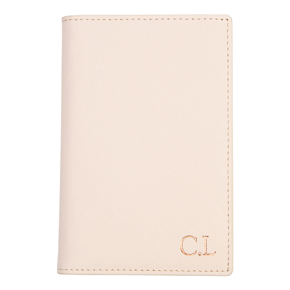 Passport Holder in Pale Pink Saffiano Leather