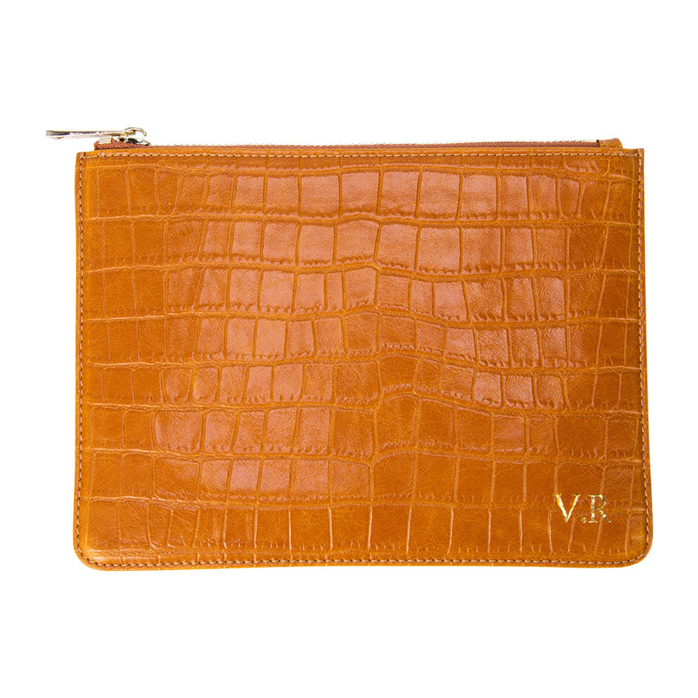 Tan Mock Croc Pouch with Wrist Strap