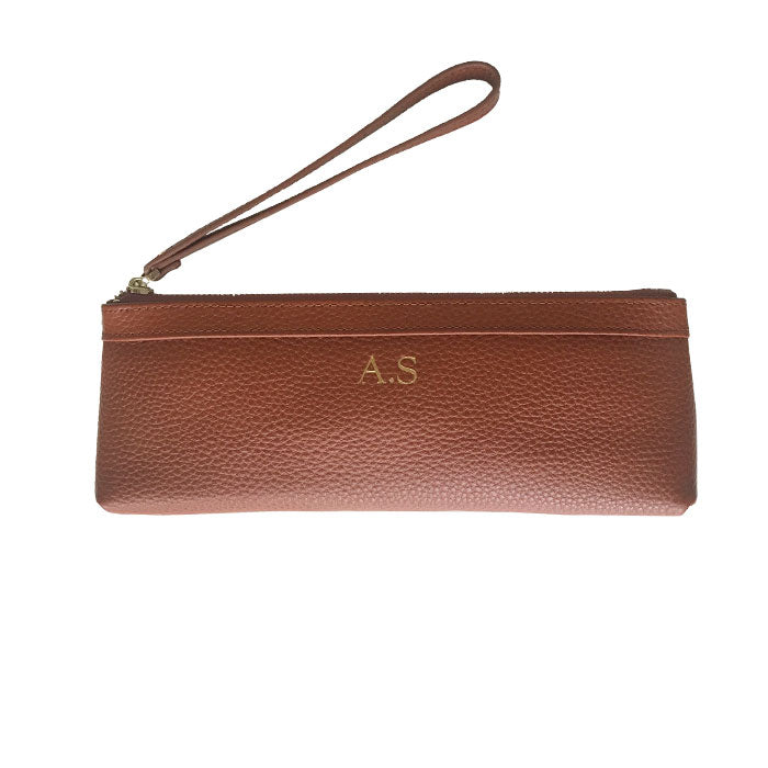 Pencil Case in Tan/Brown Pebbled Leather - OLIVIA&CO.