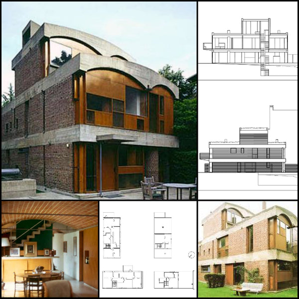 【World Famous Architecture CAD Drawings】Le Corbusier - Projects - Maison de week-end Jaoul