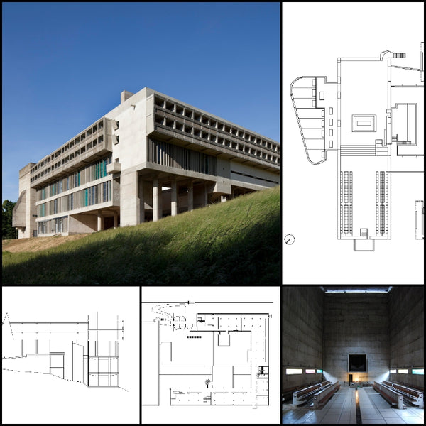 【World Famous Architecture CAD Drawings】Couvent Sainte-Marie de La Tourette - Le Corbusier - 1959