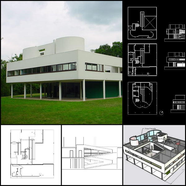 【World Famous Architecture CAD Drawings】Villa Savoye-Le Corbusier's Villa Savoye CAD Drawings+Sketchup 3D Model