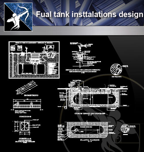 【Architecture Details】Fual tank insttalations design and detail guide in autocad dwg files