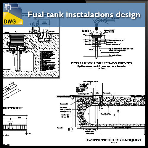 【CAD Details】Fual tank insttalations design and detail guide in autocad dwg files