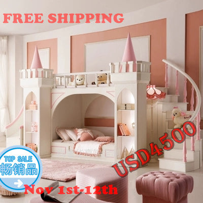 princess castle Bunk beds / Twin beds children's furniture for girls with ladder, book cabinet and slides from China market - Architecture Autocad Blocks,CAD Details,CAD Drawings,3D Models,PSD,Vector,Sketchup Download