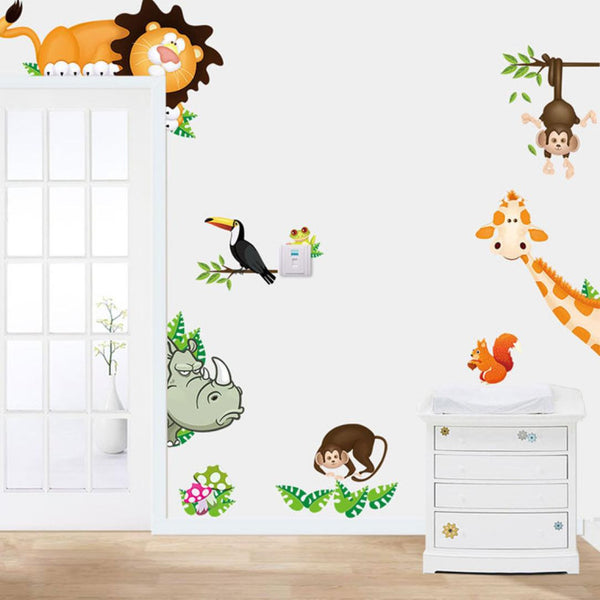 2015 Jungle Animal Kids Baby Nursery Child Home Decor Mural Wall Sticker Decal - Architecture Autocad Blocks,CAD Details,CAD Drawings,3D Models,PSD,Vector,Sketchup Download