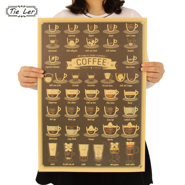 TIE LER Coffee Cup Daquan Bars Kitchen Drawing Poster Adornment Vintage Poster Retro Wall Sticker  51.5X36cm - Architecture Autocad Blocks,CAD Details,CAD Drawings,3D Models,PSD,Vector,Sketchup Download