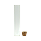 120 mm Glass Pre-Roll Tubes Flat Bottom Cork Stopper - 100 units - weed packaging and beyond