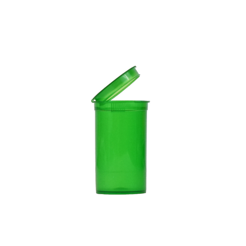 19 Dram Pop Top Bottles Child Resistant Translucent Green - 225 units - weed packaging and beyond
