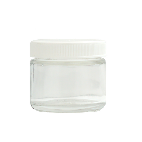 2 oz Glass Jars with White Cap - 100 units - weed packaging and beyond