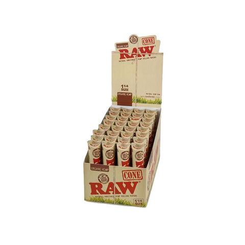 "Raw Pre-Rolled Cones Organic Hemp 1 1/4"" - 32 units - weed packaging and beyond"