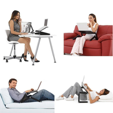 Adjustable Portable Ergonomic Laptop Desk With Ambidextrous Mouse Pad Stand