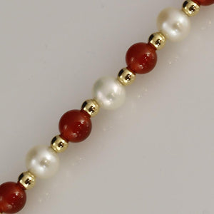 4-5mm Cornelian & White Fresh Water Pearl Bracelet with 18ct Gold Beads