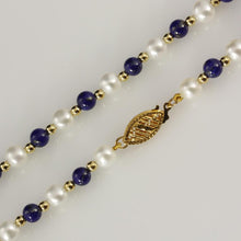 "4-5mm Lapis Lazuli & White Fresh Water Pearl 18"" Necklace with 18ct Gold Beads"