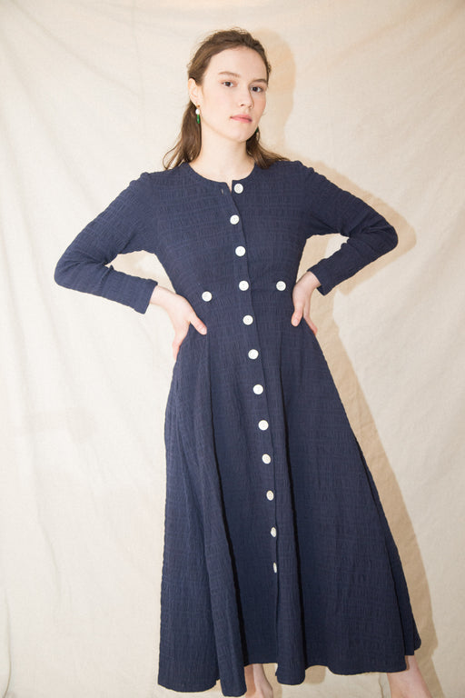 BARONESS DRESS - NAVY CRINKLE