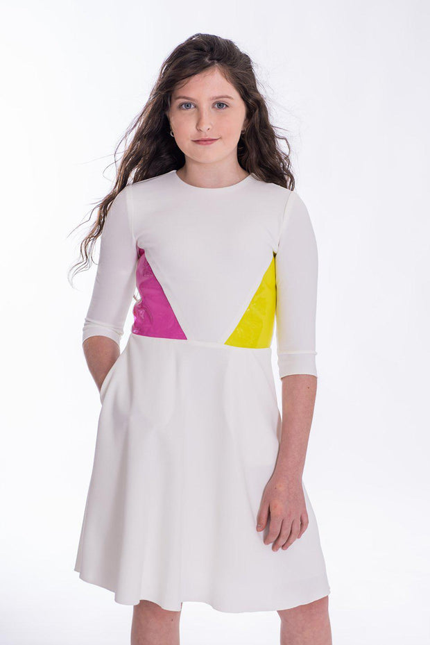 Tia | Midi-DRESS-14-White-long-modest-sleeves-sizes 7 to 18-Zoë Ltd