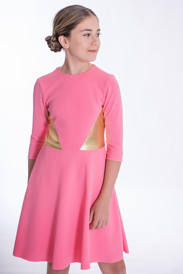 Tia | Midi-DRESS-14-Coral Pink-long-modest-sleeves-sizes 7 to 18-Zoë Ltd