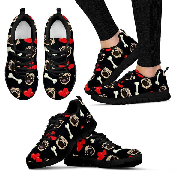 Women's Pug Pattern Sneakers - AroMama Essentials