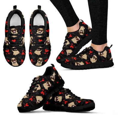 Women's Pug Lovers Pattern with Hearts Sneakers - AroMama Essentials
