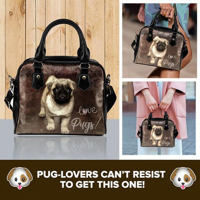 Brown Pug Shoulder Handbag