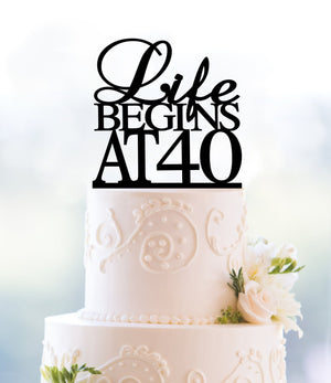 Gold Life Begins At 40 Cake Topper, 40th Birthday Cake Topper, 40th Party Decor, Fortieth Cake Topper, Glamour Party Decoration (T089)
