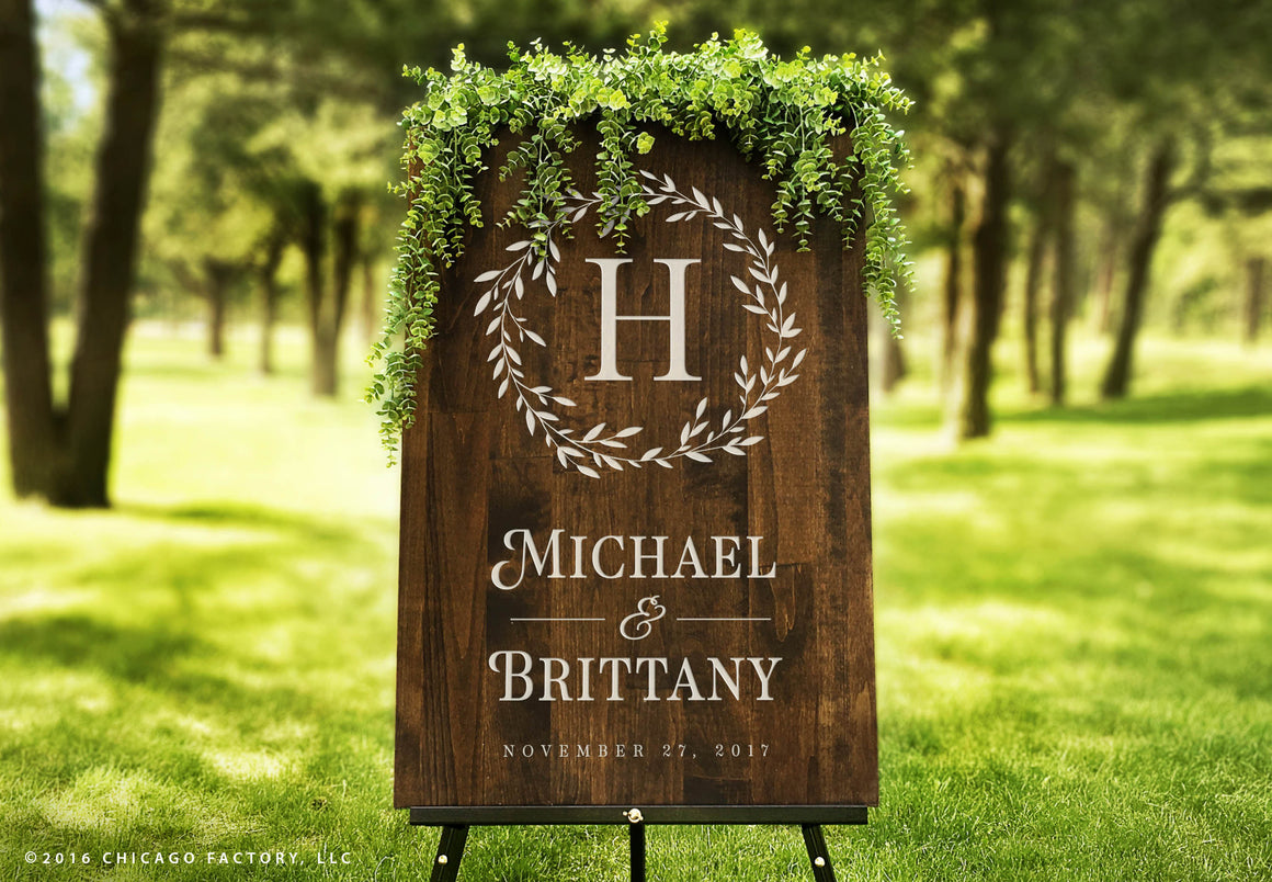 Custom Wreath Wedding Sign, Welcome Wedding Sign (GP1179)