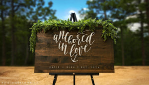 Custom Nautical Wedding Signs, Large Wood Welcome Sign, Anchored in Love (GP1174)