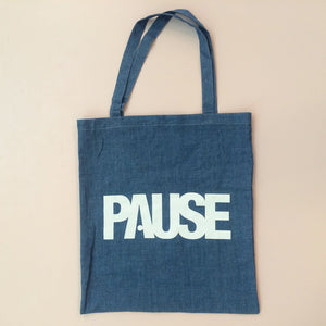 PAUSE - Denim Tote Bag