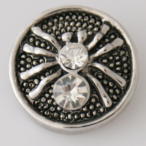 Round snap with silver spider with clear rhinestones