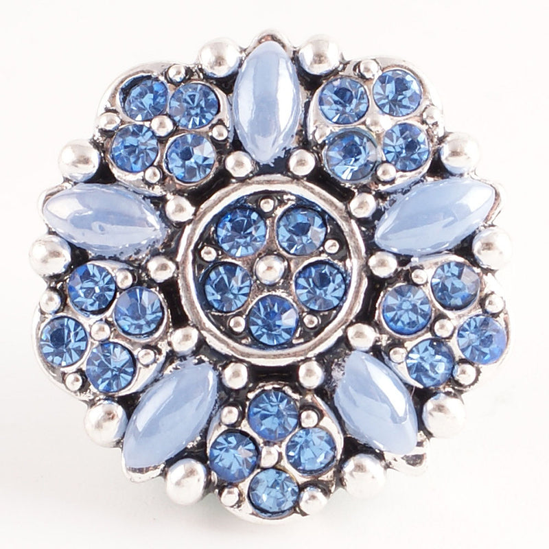 Flower with blue rhinestones