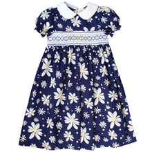 Navy Blue Floral English Smocked 100% Cotton Baby Dress 17SP 5813D