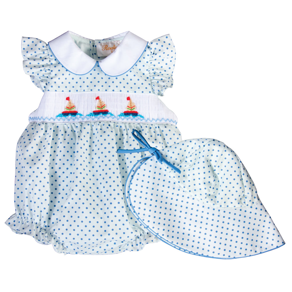 Sailboats Light Blue Dot Girl Smocked Bubble w/Collar and Matching Baby Bonnet 18SU 6259 BG