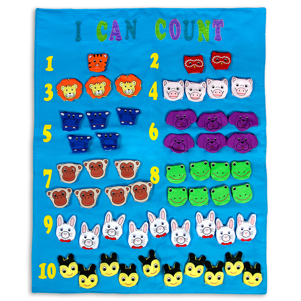 I Can Count Finger Puppets Blue Wall Hanging SSC FO7419 BL