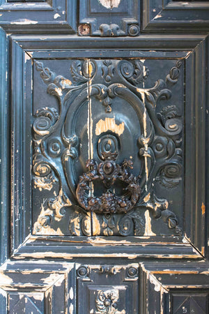 Rustic Navy Blue Door in Le Marais - Every Day Paris