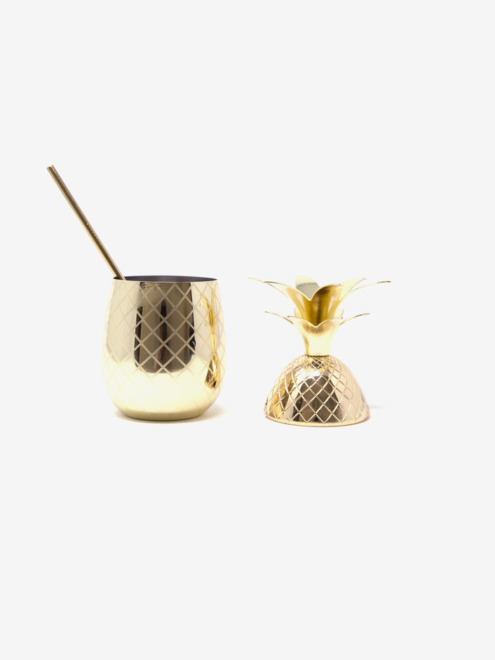 Pineapple Cocktail Glass in Gold