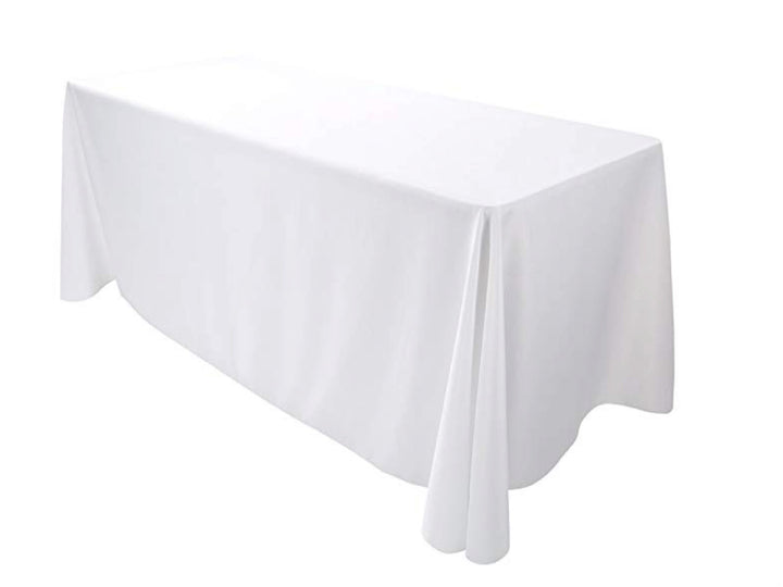"90"" x 132"" RECTNGULAR POLY LINEN - WHITE"
