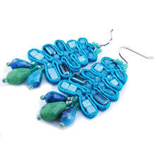 OCEANA- HANDWOVEN BEADED TASSEL EARRINGS-BLUE