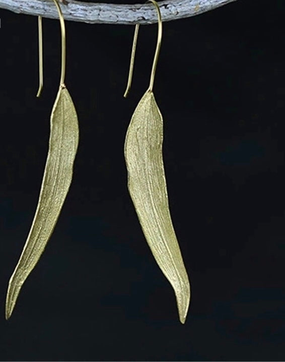 EUKA- STERLING SILVER/GOLD PLATED EUCALYPTUS TREE EARRINGS