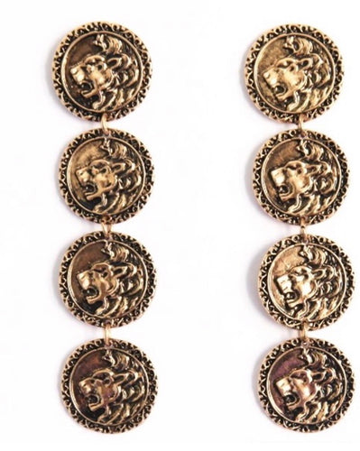 LEO - LION COIN EARRINGS