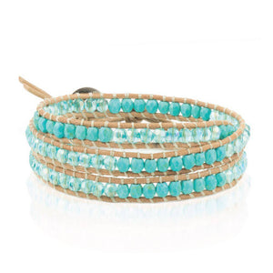 Turquoise and Turquoise Crystal on a Natural Leather Wrap