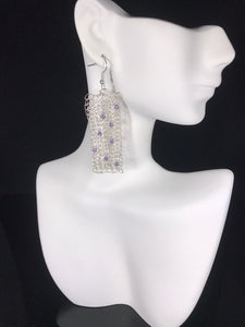 Silver dangle earrings lavender Swarovski crystals crocheted from wire